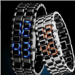 Wholesale Women Watches Samurai - 2014 New Fashion Men Women Lava Iron Samurai Metal LED Faceless Bracelet Watch Wristwatch Stainless Steel Novelty for Gift, free shipping