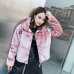 Wholesale Duck Cover - 2017 Korean Thick Warm Down Jacket Velvet Down Coat Snow Winter Clothing Short Outwear High Quality Pink Blue