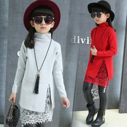 Wholesale Turtleneck Wholesaler - Baby Clothes Kids Clothes Girls Clothing Korean Cute Turtleneck Gray Red Pink Black 4 Color Wool Blends Suits Hot Sale Free Shipping