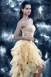 Wholesale Dress Sleeveless Asymmetric - 2018 New Arrival homecoming dresses Sweetheart Beads Asymmetric Organza Ruffles Hi-Lo Graduation Dress Orange Short Party Gowns BD318