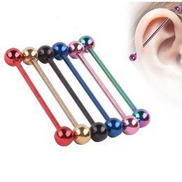 Wholesale Tragus Barbell - 316L body Piercing Jewelry Mix color Titanium Anodized 14g 38mm Industrial Barbell ear plug tunnel body jewelry Tragus Earring Piercing Stud