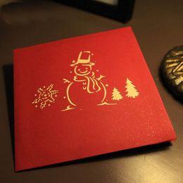Wholesale christmas tree postcards - Handmade Creative Kirigami & Origami 3D Pop UP Greeting & Gift Christmas Cards with Christmas Tree & Snowman Desgin Postcards