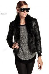 Wholesale B3 Leather Jacket Xl - High Quality New Fashion Winter Warm Womens Jacket Coat 2015 Fox Fur Collar Females leather jacket outwear Coat XXL B3