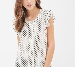 Wholesale Ruffle Blouse Plus Sizes - 2017 Summer Women Blouses New Plus Size Print shirts Casual Women Top Ruffles Sleeve Polka Dot Blouses For Women