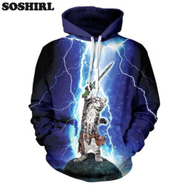 printed hoody for men Coupons - Wholesale- Lightning Cat Hero Hoodie New Fashion Hoodie Sweatshirt For Men 3D Print Animal Hoody Harajuku Hooded Cute Polluver Dropship