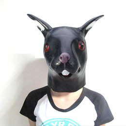 Wholesale Latex Rabbit Mask - Hot Sell Fashion Latex Sika Long-eared Rabbit Head Mask for Halloween Masquerade Parties Costume Ball heater Prop Crazy Mask