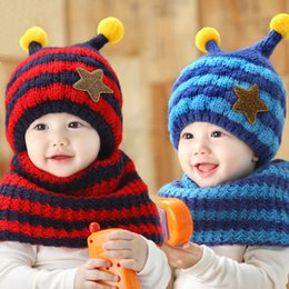 Wholesale Knitting Baby Scarf Hat - 2pcs set Winter Warm Baby Boys Girls Hat Scarf Set Infant Toddler Kids Wool Knitted Cap Cartoon Animal Cute Star Hats CH019