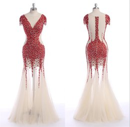 Wholesale Transparent Night Gowns - Turkish Evening Gowns Long Red Rhinestones Beads Cap Sleeve Zip Back See through Transparent Tulle Sexy Mermaid Night Wear Crystal Dresses
