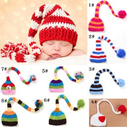 Wholesale Long Tail Infant Christmas Cap - 2015 infant girl boy autumn winter Christmas gift Handmade knitted caps with long tail baby take the photo hat 8style choose freely