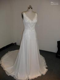 Wholesale Dress Wedding Suzhou - Real Picture Amelia Sposa V-neck A-line Crystal Beaded Bodice White Chiffon Suzhou Beach Wedding Dress