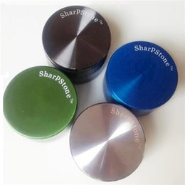 Wholesale Herb Grinders For Cheap - Sharp Stone Herb Metal Grinder 4 Parts 50mm Sharpstone Grinders for Tobacco Crusher Cheap Grinder CNC Filter Net Grinder Mix Colors Grinders