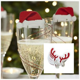 Wholesale Deer Signs - Red Wine Glasses Hat Antlers deer Paper Xmas Hat Christmas Decorations Champagne Wine Glass Insert Caps Christmas Paper Card Hat Sign Flag