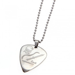 Wholesale Electric Bass Picks - Guitar Pick Pendant Necklace Chain Metal for Electric Guitar Bass Music