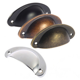 Wholesale Cabinets Pulls - Free Shipping Small Antiqued Bronze Kitchen Cabinet Hardware Drawer Bin Cup Pull with 4 Colors