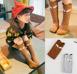 Wholesale Knee High Socks Hot - New fashion hot sale latest fashion degins cartoon fox kids knee high baby girls socks free shipping