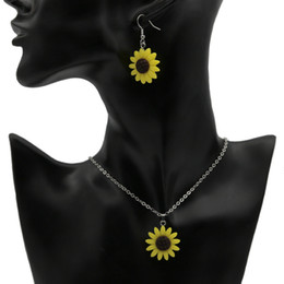 Wholesale acrylic flower necklace - Sunflower Pendant Necklaces Resin Material Bohemian Fashion Cute Lovely Charm Jewelry for Women and Girl Necklace Earrings Gifts Wholesale