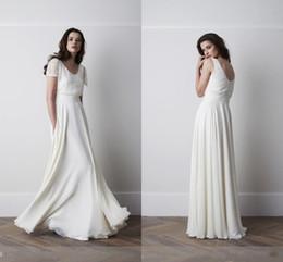 Wholesale Drop Waist Gown Wedding Dresses - 2016 Modest Summer Beach Wedding Dresses With Short Sleeves Chiffon Lace Decored A line Boho Wedding Gown Empire Waist Long Floor Length