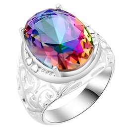 Wholesale Rings Large Stones - Wholesale- large round Seven colour stone silver ring for women 1pc free drop shipping hot vintage Rainbow zircon jewelry for wedding gift