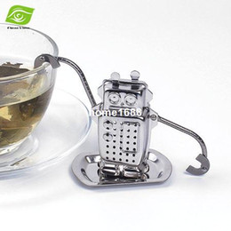 Wholesale Tray For Tea - 2pcs Lot Novelty Robot Tea Leaf Strainer Stainless Steel Tea Infuser Filter Tools For Tea With Tray