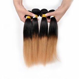 Wholesale Virgin Ombre Hair For Weave - Fashion 1B 27 Two Tone Color Ombre Straight Human Hair Weaves,10-30'' 100% Virgin Peruvian Hair Weft Extension Silk Straight for Black Women