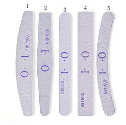 Wholesale nails buffers - 100pcs Nail Files Sanding 100 180 Curve For Nail Art Tips Buffer Nail File Manicure 5 Styles Random