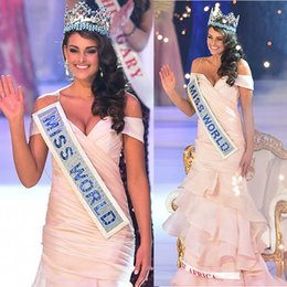 Wholesale Africa Train - 2014 Miss World Pageant Dress Rolene Strauss South Africa Off Shoulder Ruffle Tiers Floor-Length Prom Dresses Dhyz 01