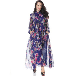 Wholesale Long Sleeved Chiffon Maxi Dress - 2016 Spring New Chiffon Casual Dresses for Womens Fashion Print Floral Stand Collar Long-sleeved With Pocket Maxi Dress Plus Size M-6XL