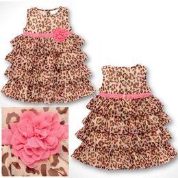Wholesale Knee Length Leopard Dress Wholesale - Baby Girl's Chiffon Leopard Cake dress 2015 new Fashion Girl's Leopard Braces flower sleeveless dress B001