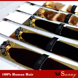 "Wholesale Nail U Tip Hair - XCSUNNY Human Hair U Tip Extensions 18"" 20"" 100gram Indian Remy Hair Keratin Nail Tip U Tip Hair Extensions 1g s"