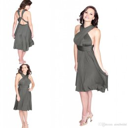Wholesale Charcoal Dresses - 2017 Charcoal Grey Convertible Bridesmaids Dresses Plus Size Custom Made A Line Halter Hollow Chiffon Knee Length Short Maid of Honor Dress