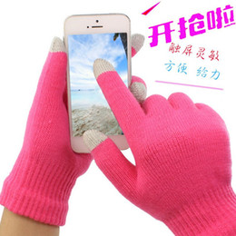 Wholesale Magic Wool - DHL FREE 50 pairs mixed solid colors Touch Screen Magic Gloves Unisex Male Female Stretch Knitted Gloves Mittens Hot Warm