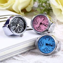 Wholesale Elastic Fashion Ring - 3 colors optional for Creative Fashion Steel Round Elastic Quartz Finger Ring Watch free shipping
