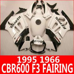 Wholesale 1996 Honda Cbr F3 Fairings - Pure white REPSOL motorcycle fairing kit for Honda 95 96 CBR600 F3 fairings CBR 600 F3 1995 1996 body parts