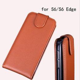 Wholesale Cheap Flip Phones Cases - Wholesale cheap men business phone case vertical leather flip cover for Samsung Galaxy S6 S6 Edge