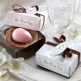 Wholesale Bridal Favors Soap - Wholesale-100Pcs Free shipping The Nest Egg Scented Egg Soap in Nest Gift for bridal Wedding favors
