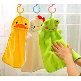Wholesale Towels For Kids Bathroom - Cartoon Animal hand towel Nice Decoration for bathroom Wshing towel Washcloths super soft coral fleece kids towel wipe sweat hung towel