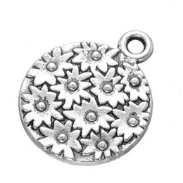 Wholesale Good Craft Flowers - 200 pcs 3D sun flower Charms pendant Antique Silver Tone good for DIY craft jewerlry finding