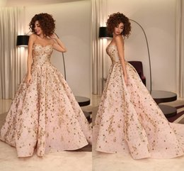 Wholesale Myriam Fares Dress - 100% Real Image Ball Gown Evening Dresses Sweetheart Sequins Crystal Appliques Satin Myriam Fares Celebrity Dresses Formal Prom Dress