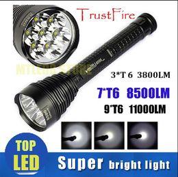 Wholesale Trustfire Mini Xml T6 - Flashlight Trustfire T6 7* CREE XML 8500 LM ,3*CREE 3800LM ,9*CREE 11000LM Ultrafire Strong Torch handlight For Camping Hiking