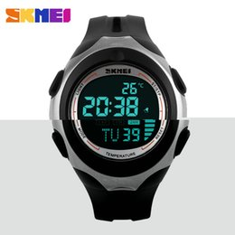 Wholesale Waterproof Watches Temperature - 2015 Temperature Digital Sports Watch SKMEI Brand Unisex Multifunctional Waterproof Casual Men Outdoor Wristwatch 5 COLORS