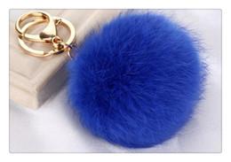 Wholesale Soft Led Balls - Real Rabbit Soft Fur Ball Keychain Fur Ball Lovely Gold Metal Key Chains Ball Pom Poms Plush Keychain Car Keyring Bag Earrings Accessories