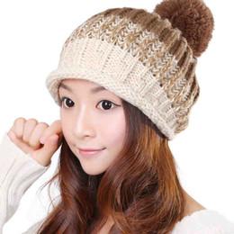 Wholesale Coarse Yarn - Wholesale-Free Shipping!Fashion Knitted Hat WithPlush Ball Pom For Women,Korean Coarse Yarn Crochet Beanies Skullies Caps For Girls