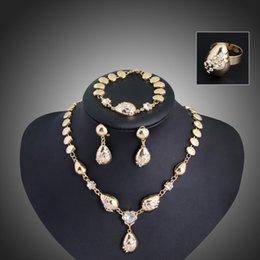 Wholesale Semi Precious Rings - 18K gold plated Semi-precious jewelry set necklaces earrings bracelets rings wholesale