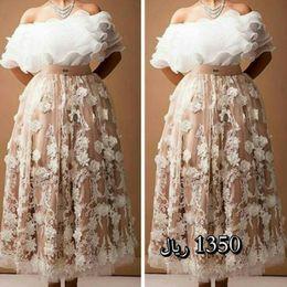 Wholesale two tone pink dress - 2016 Two Tone Middle East Dresses Off Shoulder Bateau Neckline Lace Appliqued Celebrity Party Gowns