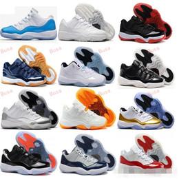 Wholesale Martial Arts Universities - Air retro 11 XI university blue Basketball Shoes men Women white Metallic Gold Navy Gum Gamma blue 72-10 Bred Space jam Concord Sneakers