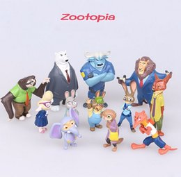 Wholesale Eva Action Figure - New Zootopia Action Figures Toys Zootopia Figures dolls Nick Fox Judy Rabbit Dolls 4-8cm 12pcs lot Xmas gift Free shipping D338 50