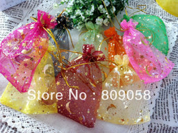 Wholesale Assorted Color Wholesale Plastic Bags - Wholesale 100pcs 7*9cm Assorted Color Organza Gift Bags Star&moon Pattern Drawstring Bag Jewelry Gift Pouches Free Shipping