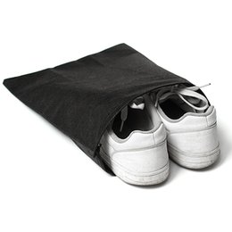 Wholesale Drawstring Bags For Shoes - High Quality Non-Woven Fabric Storage Bags Convenient Square Travel Drawstring Portable For Shoes Container Black White