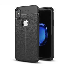 Teléfonos móviles delgados del metal online-Cuero delgado teléfono móvil funda móvil piel protectora para iPhone 8 X Plus 7 6 de alta calidad