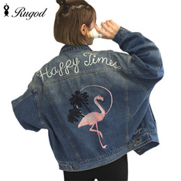Wholesale Girl S Long Coat Down - Wholesale- Women Letter Flamingo Embroidery Long sleeve Denim Jacket Loose Turn Down Collar Female Basic Jeans Coat Casual Girls Outwear